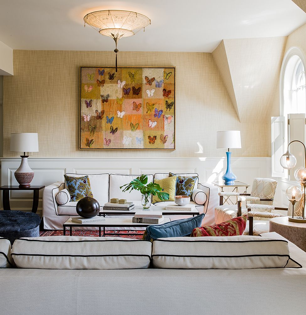 Living Hall Interior Design: Back Bay Living Room By Annie Hall Interiors; Sofas By