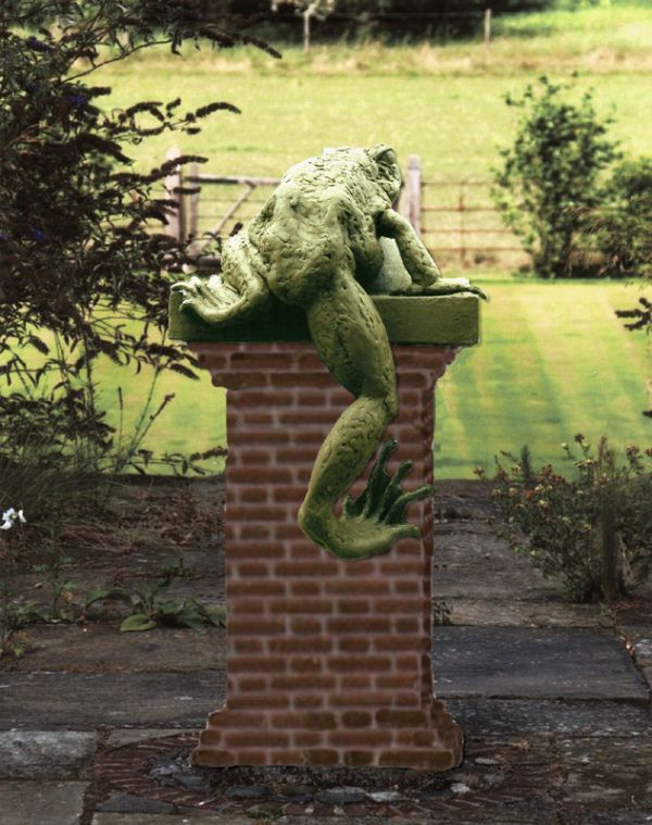 sculpture climbing frogbronze by sculptor sioban coppinger in garden sculptures
