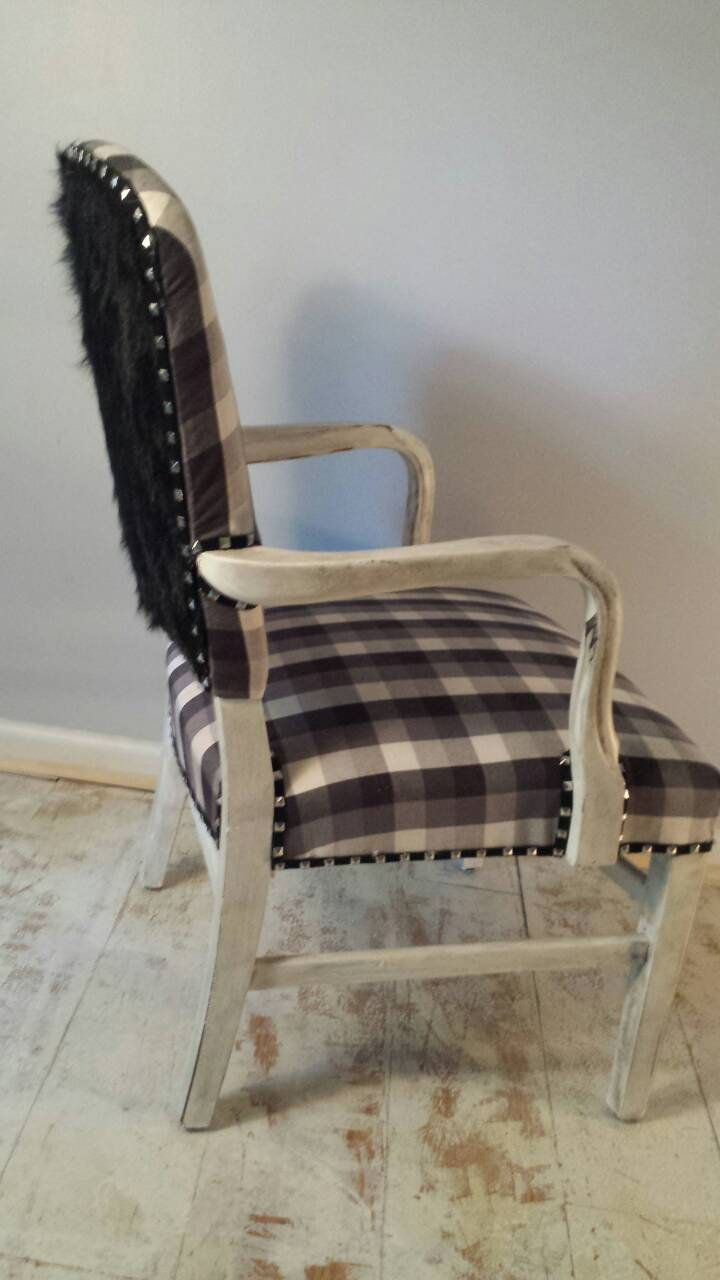 Black and white buffalo plaid accent chair faux grizzlie