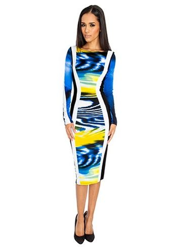 0726a2c3b780 Long Sleeve Cosmic Print Midi Dress Classic