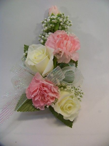 Rose And Carnation Corsage In Pink And White Sparr S Plymouth Mi Florist Rose Corsage Corsage Pink Carnations