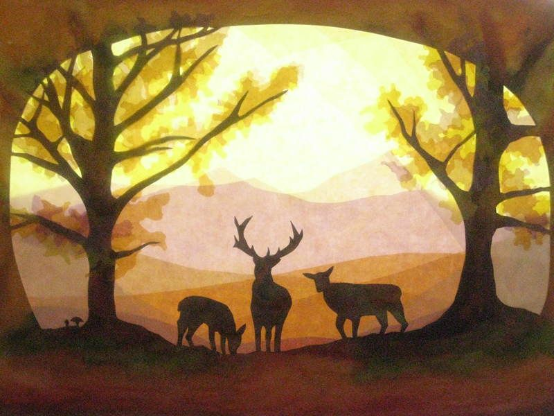 Fensterbilder Hirsche im Herbst Wald von Art 4 Windows auf DaWanda ...