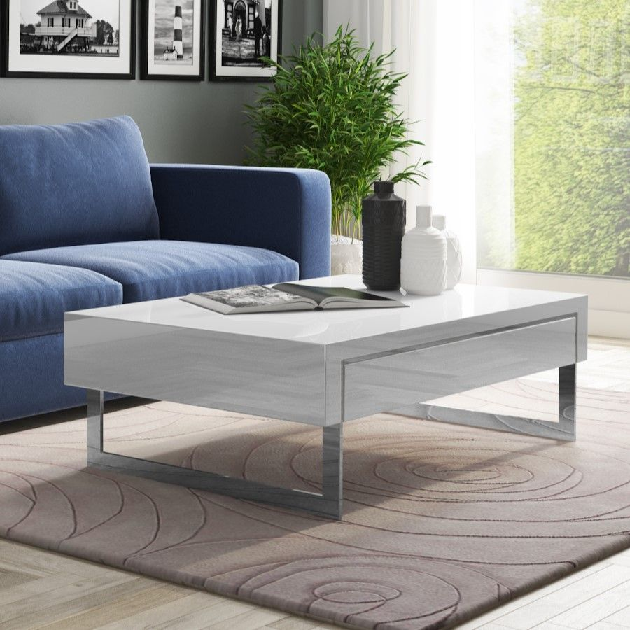 White High Gloss Coffee Table With Storage Drawers Salones