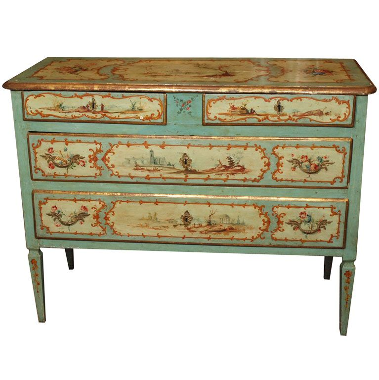19th Century Painted Italian Commode Paint Furniture