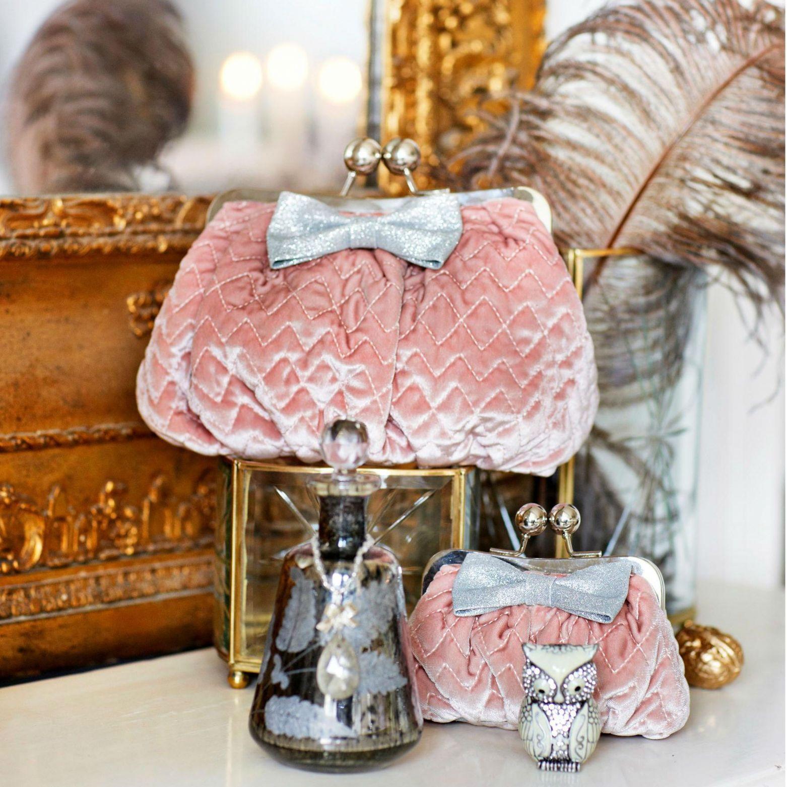 Pink Velvet Cosmetic Bags