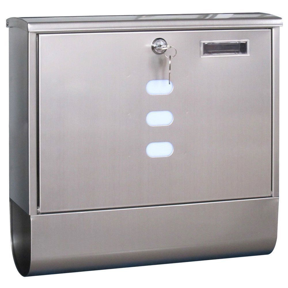Wall Mounted Lockable Stainless Steel Postbox Outside Letterbox Mail Box Fixing Post Box Letter Box Newspaper Holder