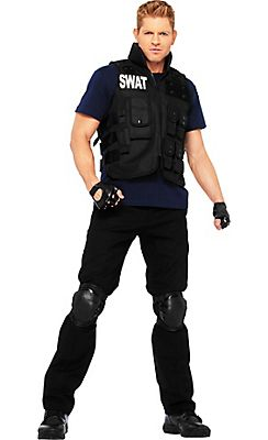 SWAT S.W.A.T Deluxe Military Police Cop Commander Uniform Men Costume One Size