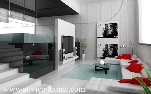 Black+and+white+photographs+with+a+touch+of+red | White Black Wall Design  With Photo Frame And White Red Sofa Design In .
