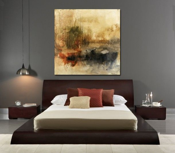 Bedroom With Modern Furniture And Abstract Painting