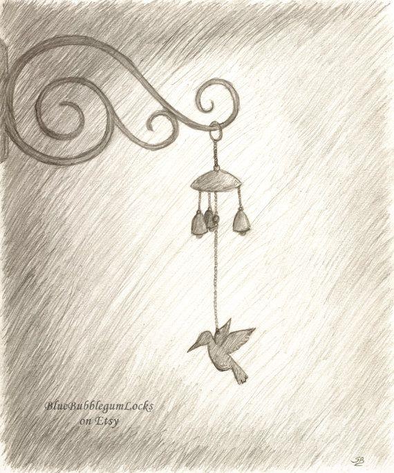 Original Pencil Sketch Of Hummingbird Wind By Bluebubblegumlocks