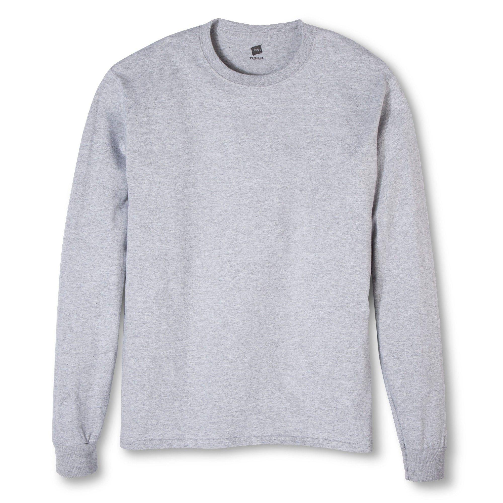 0b00db30f0 Hanes Men s Solid Long Sleeve T-Shirts Silver L