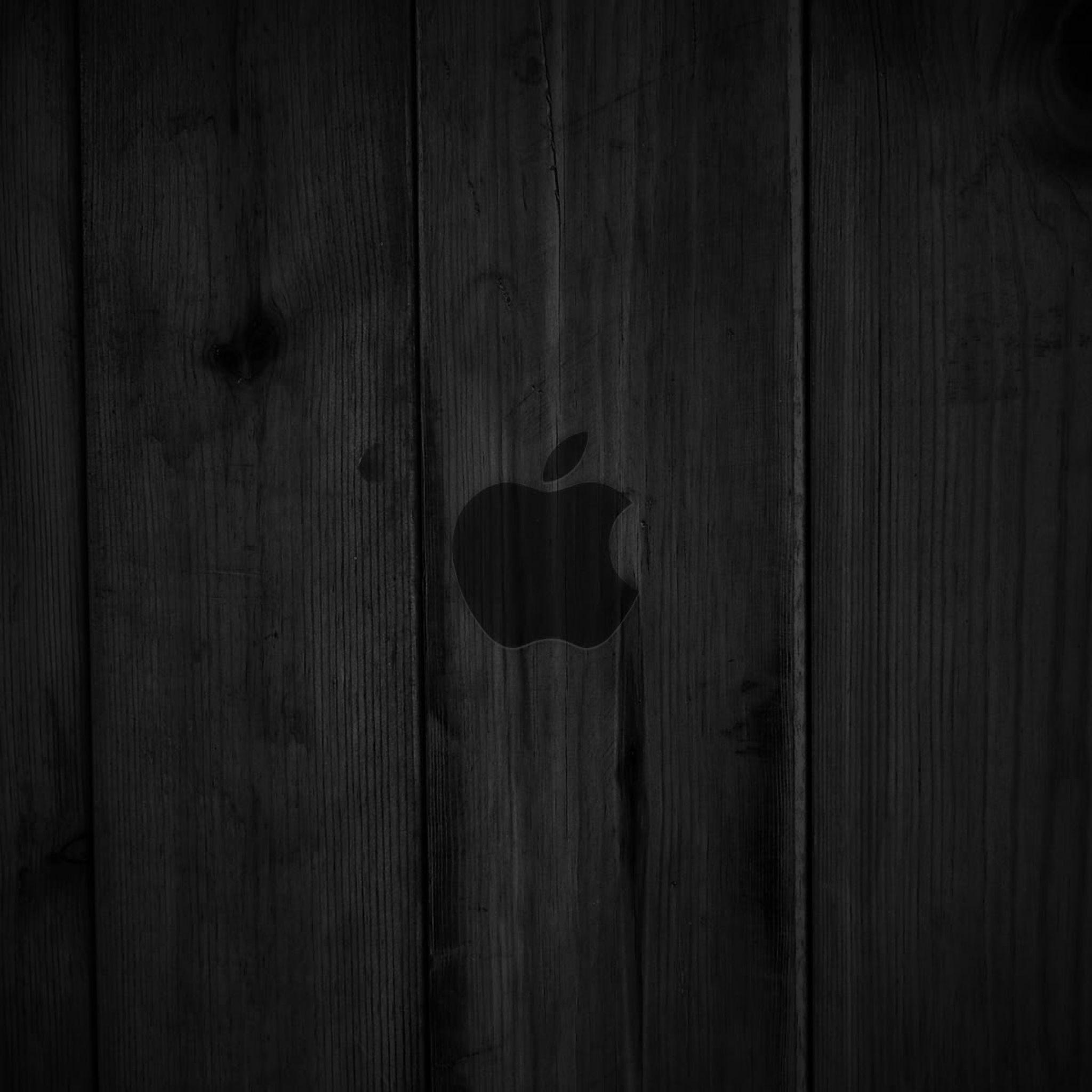 2048x2048 wallpaper wood, dark, lines, background, apple, mac