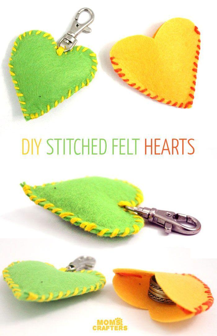 Make adorable stitched felt hearts! | Pinterest | Häckeln, Stricken ...