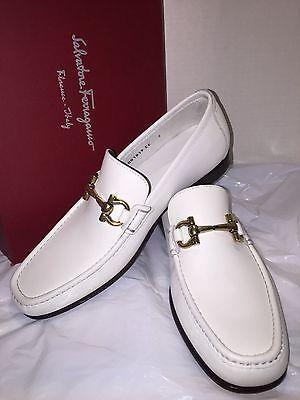 45fd7a748df Salvatore-Ferragamo-Giordano-White-Loafer-Men -039-s-Calf-Leather-Bit-Shoes-7-EE-W