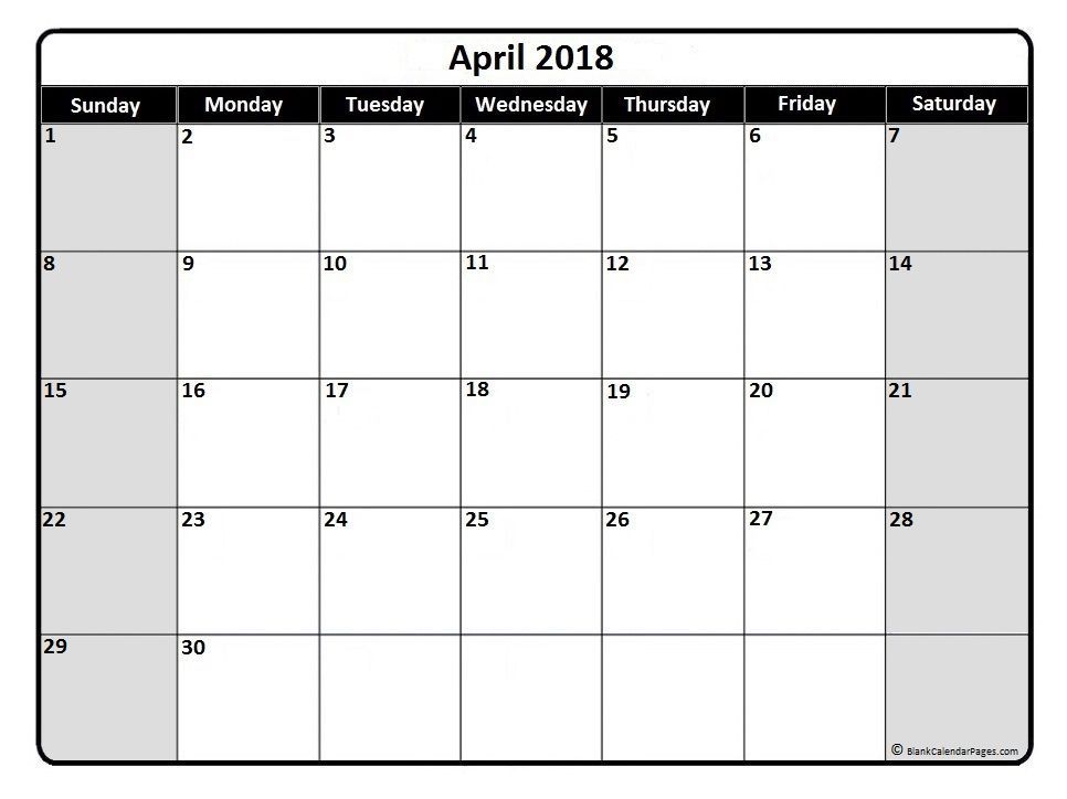 April  Monthly Calendar Printable  Printables