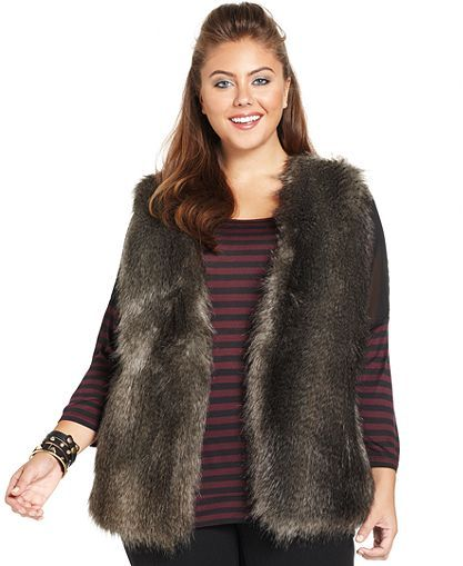 3098dbdb0f3 Jessica Simpson Plus Size Faux-Fur Vest - Jackets   Blazers - Plus Sizes -  Macy s