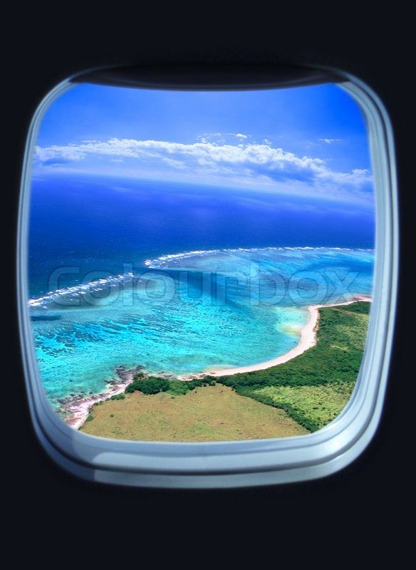Beautiful Sea View From The Window Of Plane Stock Photo Colourbox Canvas Set Stock Photos Ocean View