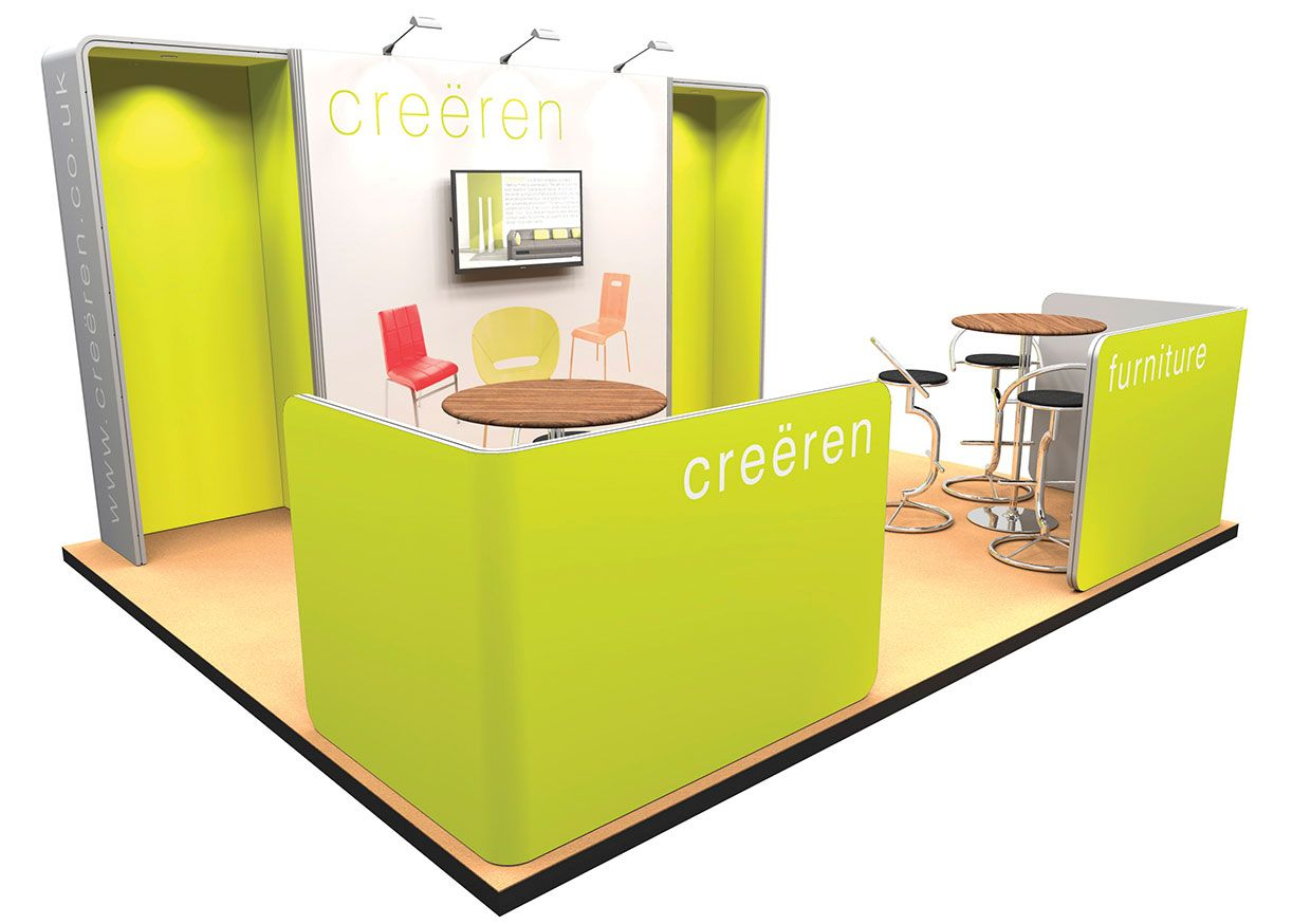 Exhibition Stand Wall Panels : M display stand with booth ends and meeting spaces