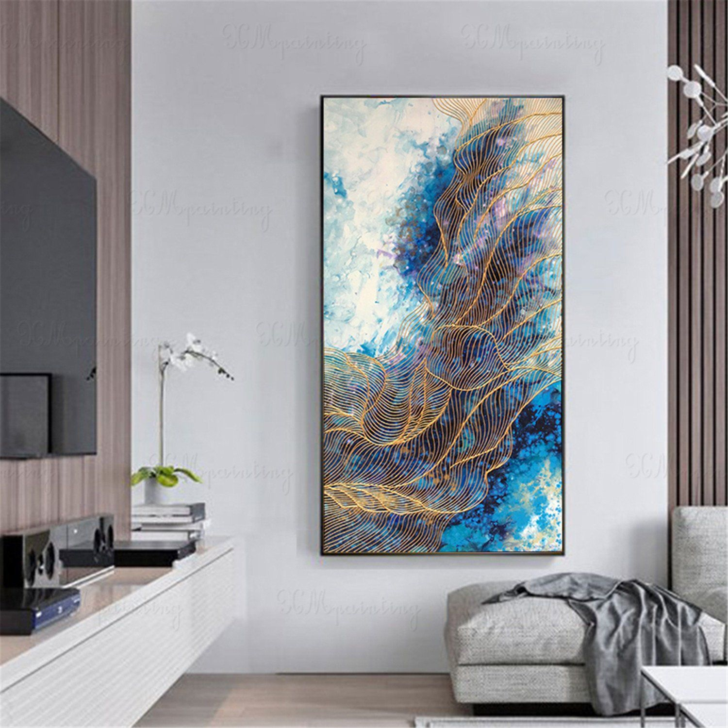 original acrylic gold lines abstract painting on canvas on modern acrylic paintings for living room id=95826