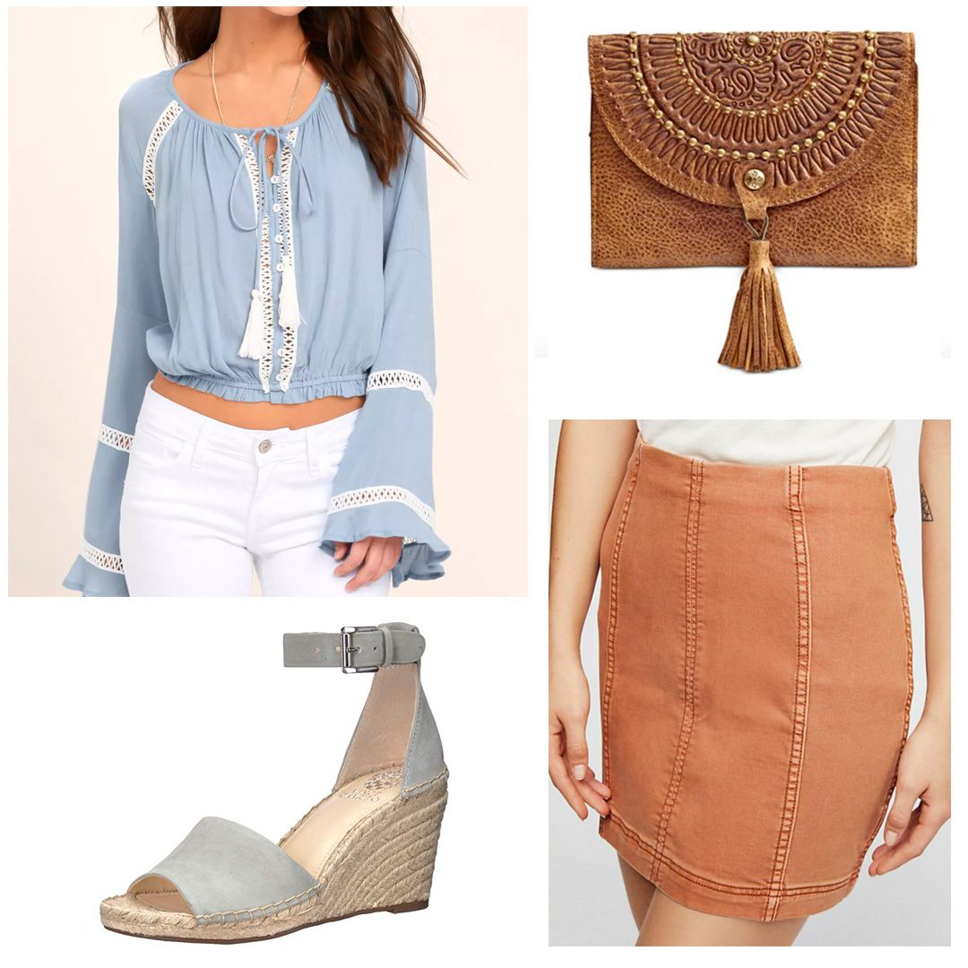 21st birthday outfit with brown skirt, light blue peasant