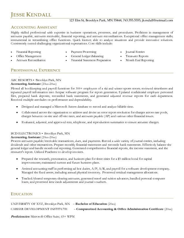 Accountant Resume Examples Sample Resume For An Entry Level