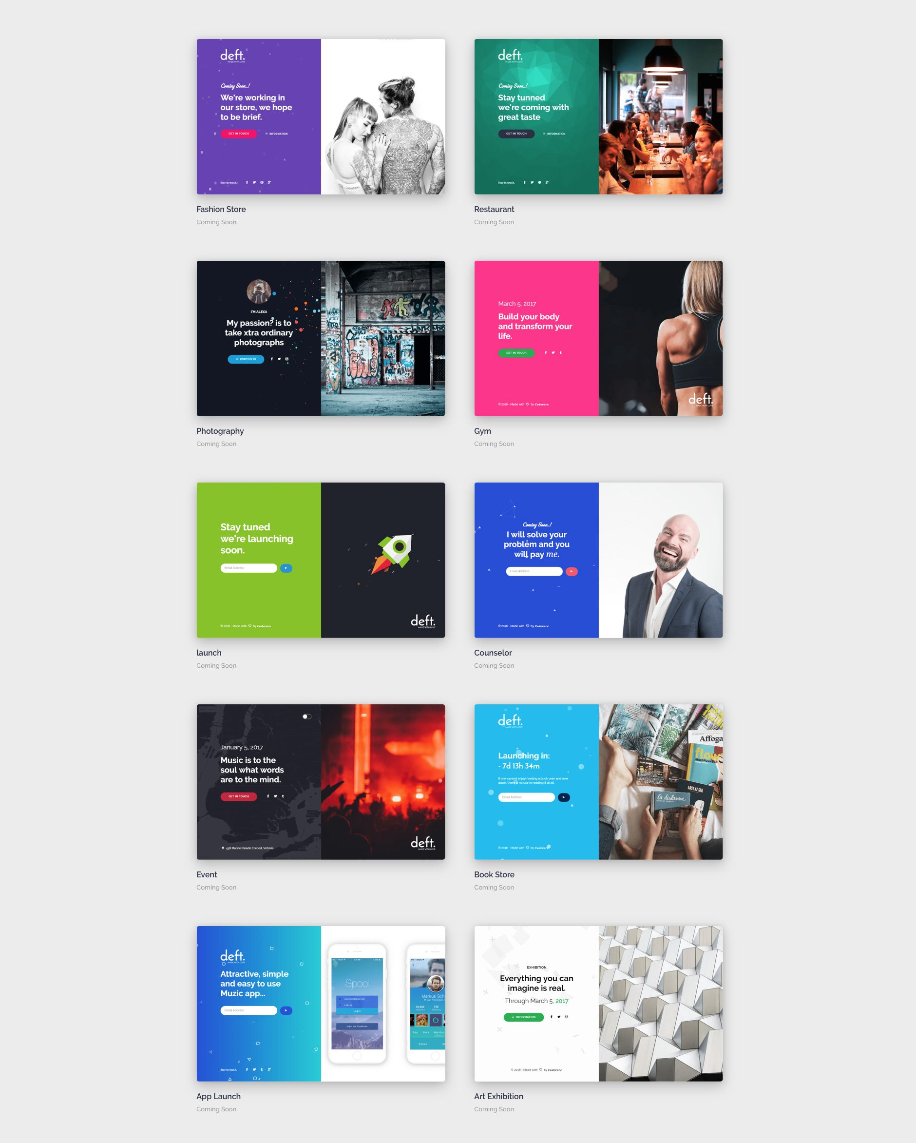 Deft is a Modern and colorful HTML5 Bootstrap multipurpose coming ...