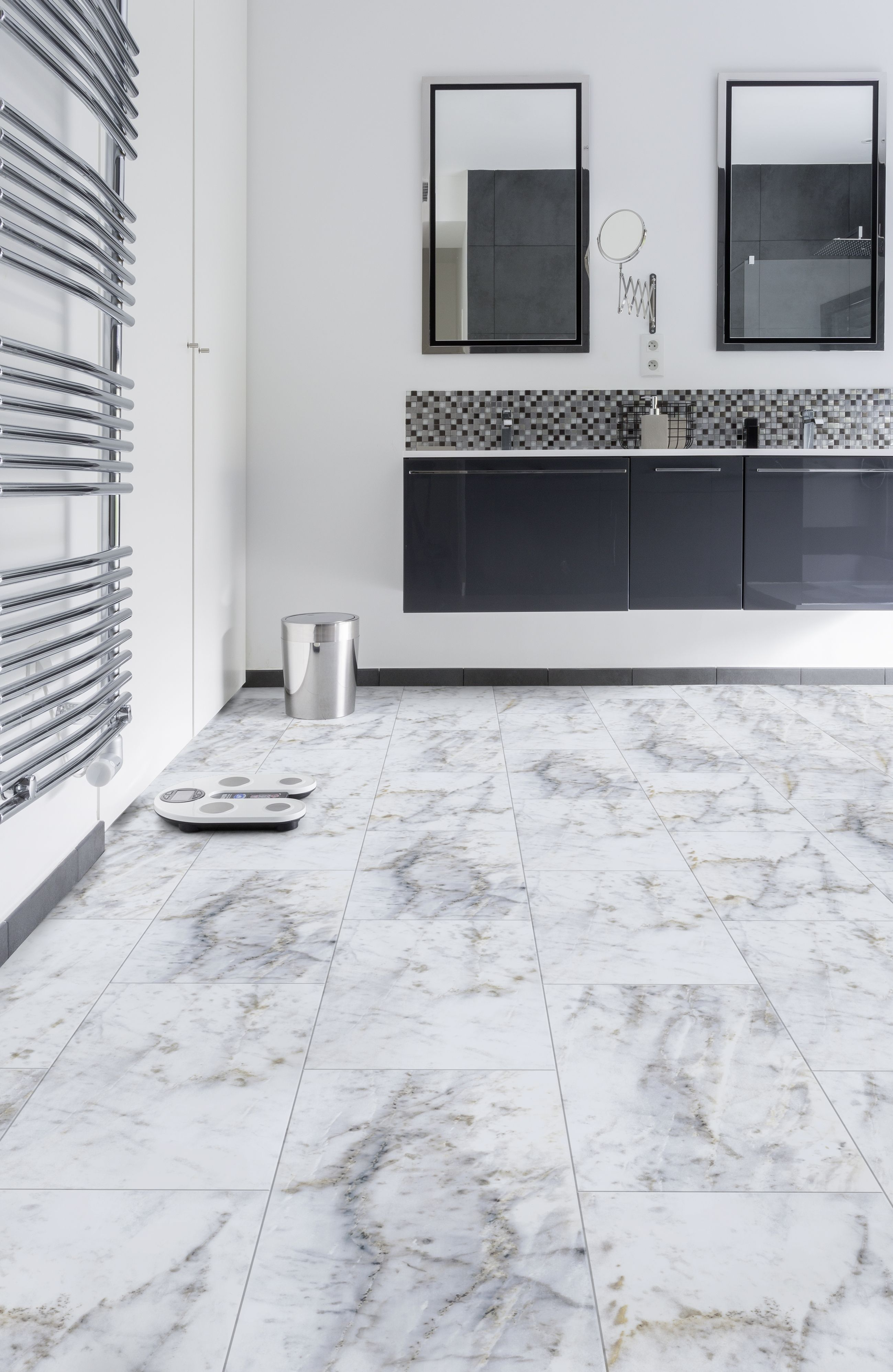 Sdb Creation New Creation 30 Lvt In Carrare Luxury Vinyl Tiles In 2019 Sdb