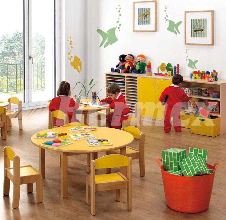 Mesa redonda para zonas infantiles mesas escolares for Sillas escolares para zurdos