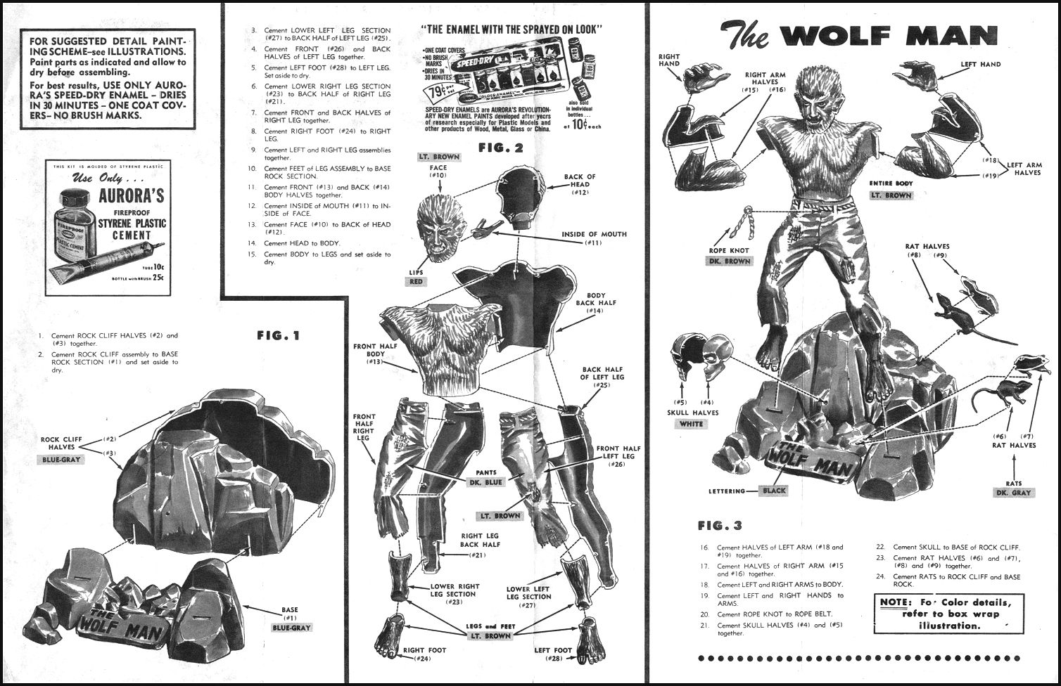 Aurora Models monster kit instructions...Wolf Man