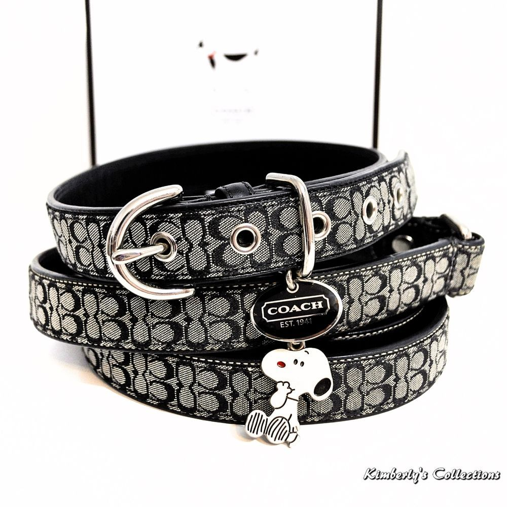 873adfe90052 COACH Signature Dog Collar & Leash Set w/ Snoopy Charm size Large Black NIB  #Coach #Snoopy #Dogs #Collars #Pets #Peanuts #collectors