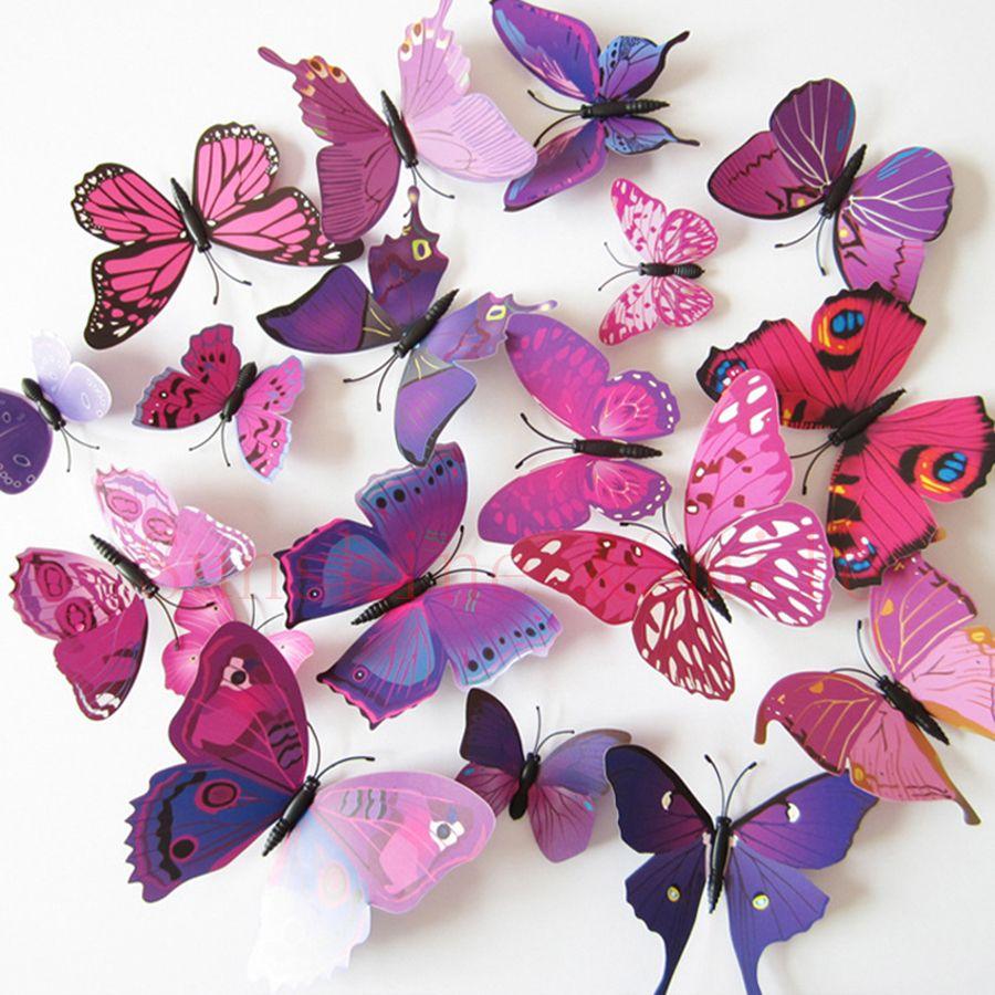 12 Stücke = 1 los 3d Wandaufkleber Aufkleber Schmetterlinge Pegatinas de pared Kunst Tier Karton Rolly Wandaufkleber Papier Raumdekoration