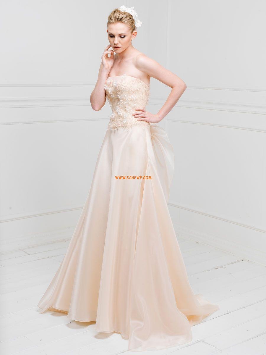 5e6d1d1dc4f8 Ärmlös Applikation Naturlig Billiga Bröllopsklänningar ...