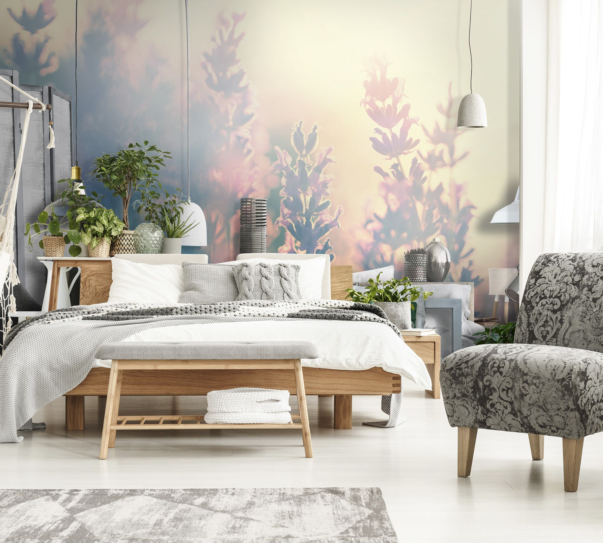 Fototapeta Lawenda Bedroom Wallpaper Colours Living Room Prints Pink Peonies Print