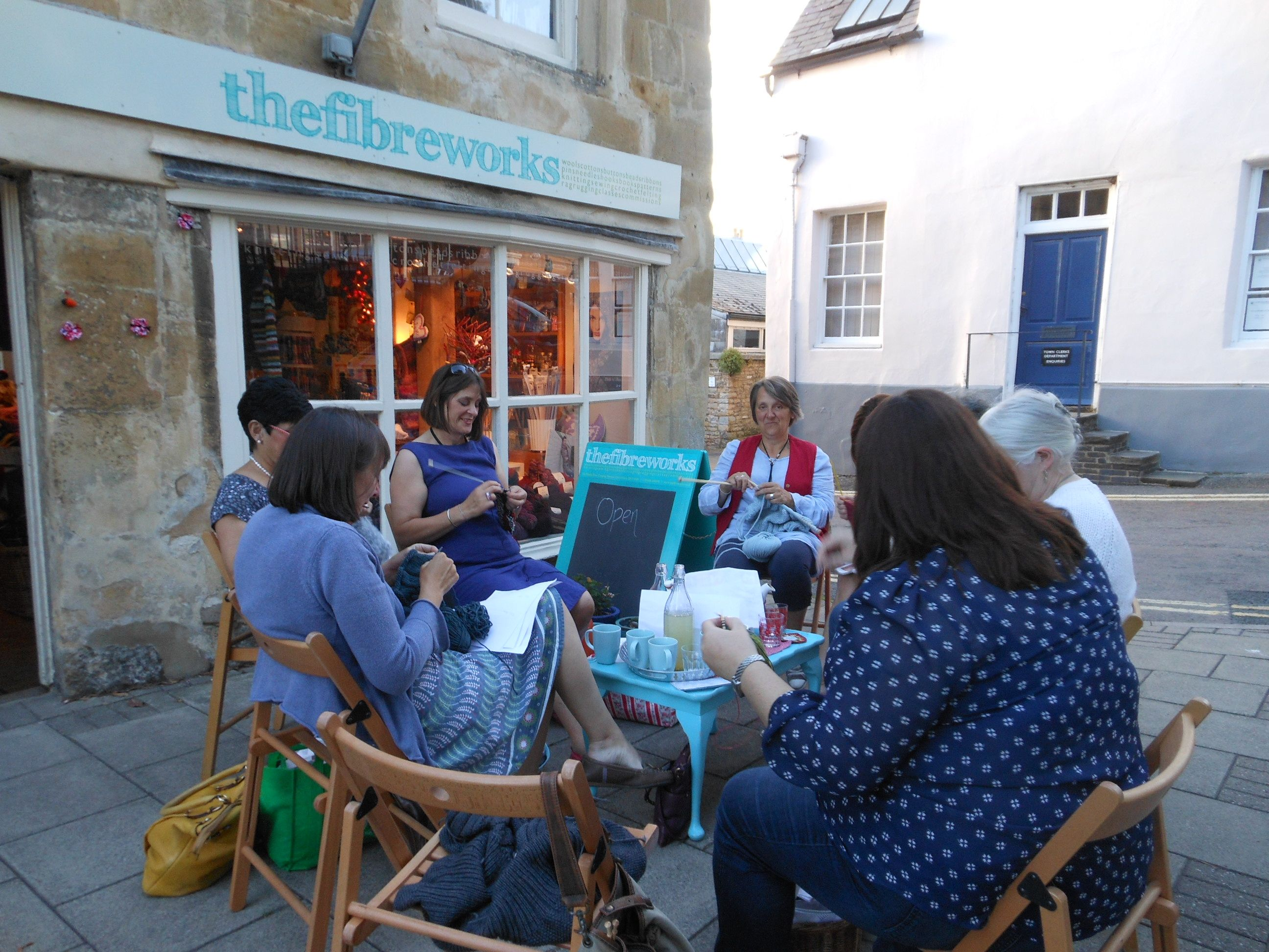 A knitting group at a shop in Chipping Norton
