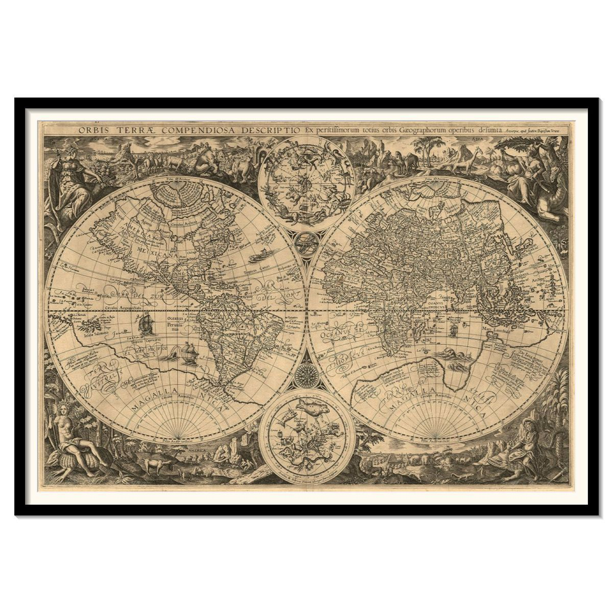 Vintage world map by joanem baptistam vrient large archival print vintage world map by joanem baptistam vrient large archival print 24 x 35 sciox Gallery