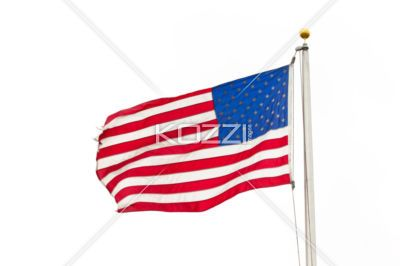 american flag - The American flag hangs proudly on a windy day