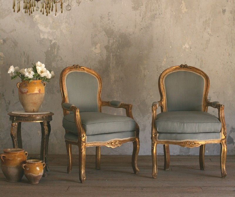 Vintage Louis XV French Style Shabby Gilt Wood Pair Chairs