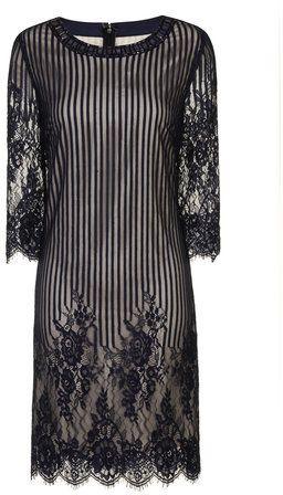 Little Mistress Navy Stripe Lace Tunic Dress