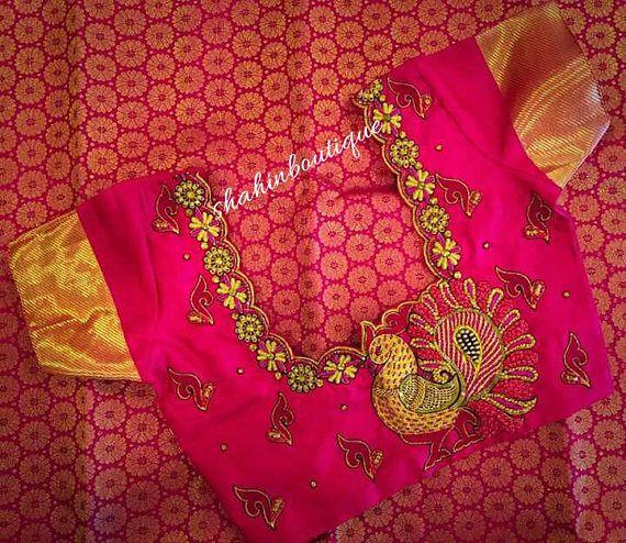 Pink Peacock Saree Blouse Ad Handmade Pink Pattu Blouse With