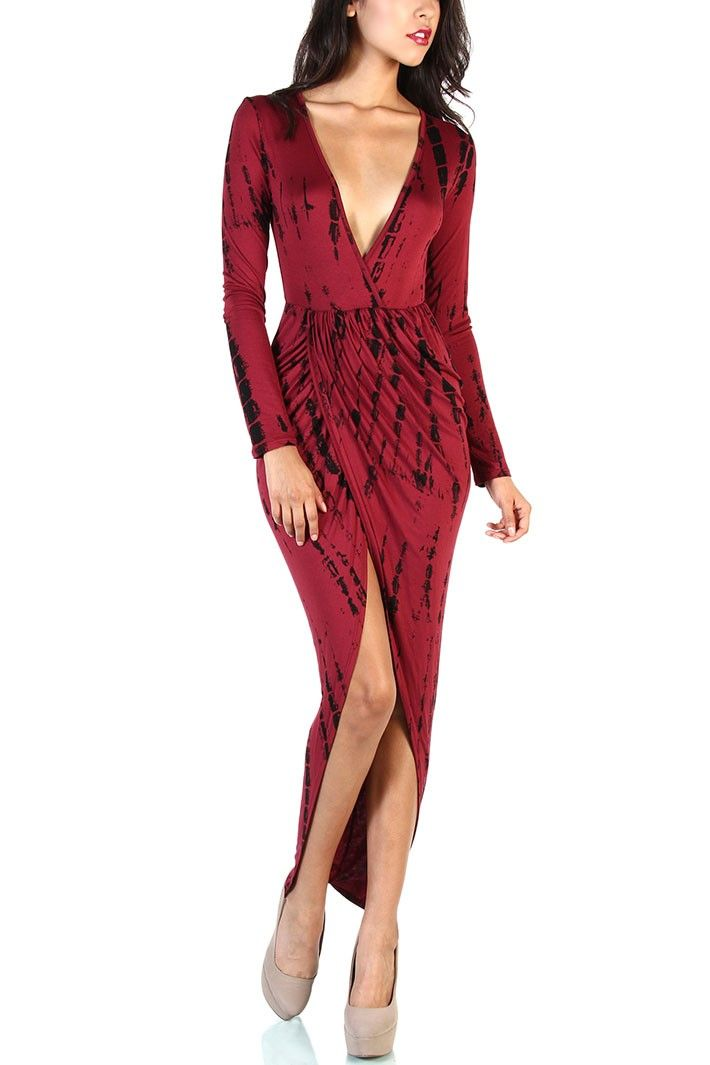 Draped Dress Black / Burgundy