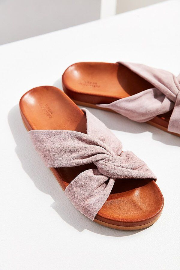a6a0d7f35bb9 Urban Outfitters Supple Suede Twist Slide Sandals 2018