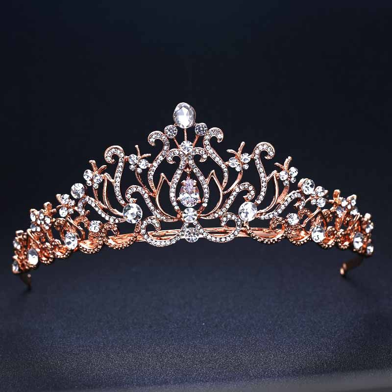 Tiara Crown Quality Crystal Tiaras Crowns Directly From China Suppliers Rose Gold Color Wedding Bridal Bridesmaid Flower S