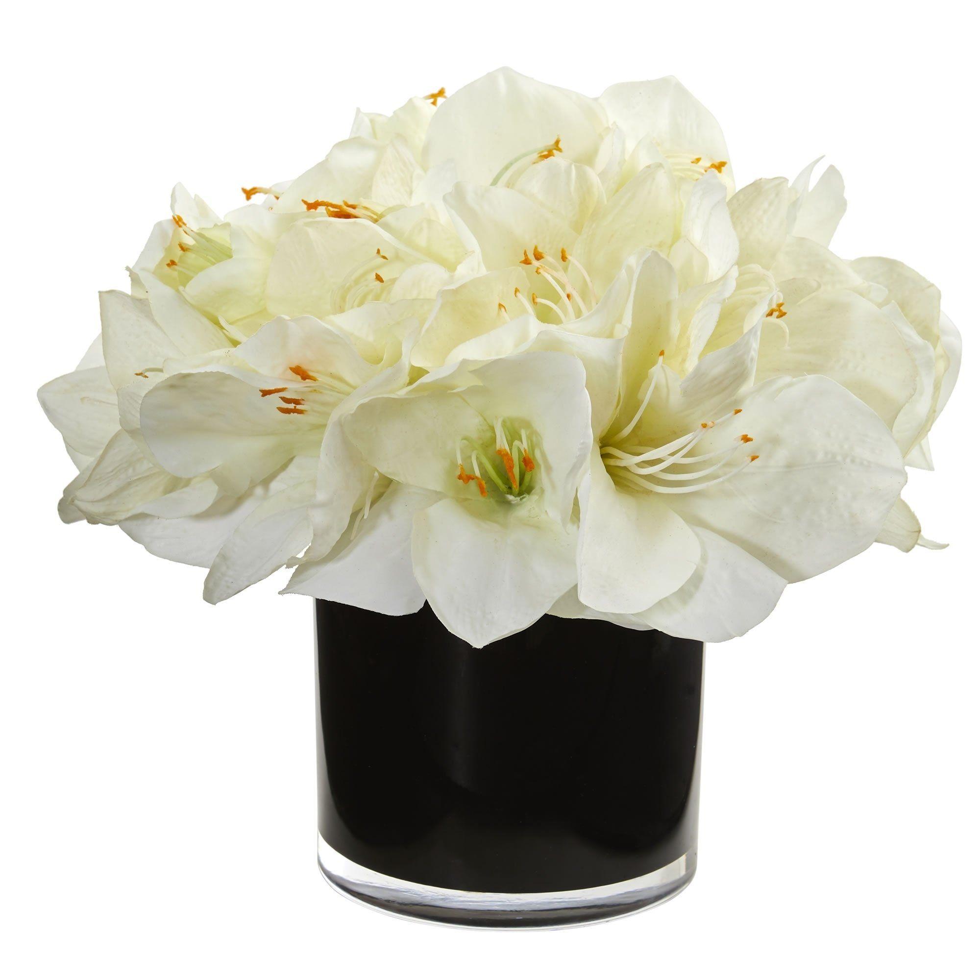 Nearly Natural Black White Amaryllis Artificial