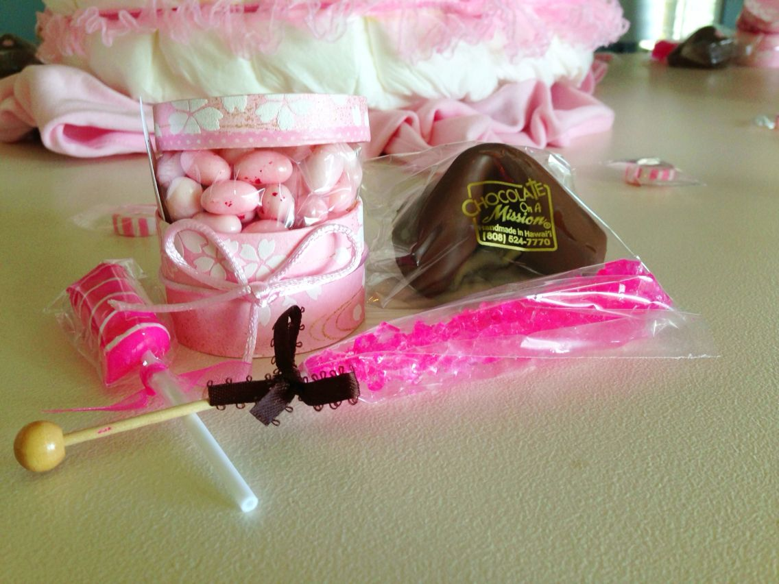 The entire party favor set! Pink rock candy, pink swirl lolipop, a ...