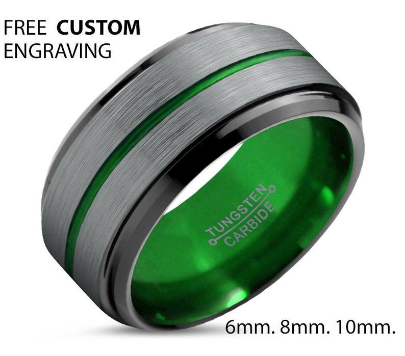 Personalized Wedding Ring Tungsten Carbide Wedding Band ENGRAVED WEDDING RING Free Interior Engraving Brushed Silver w Beveled Edges