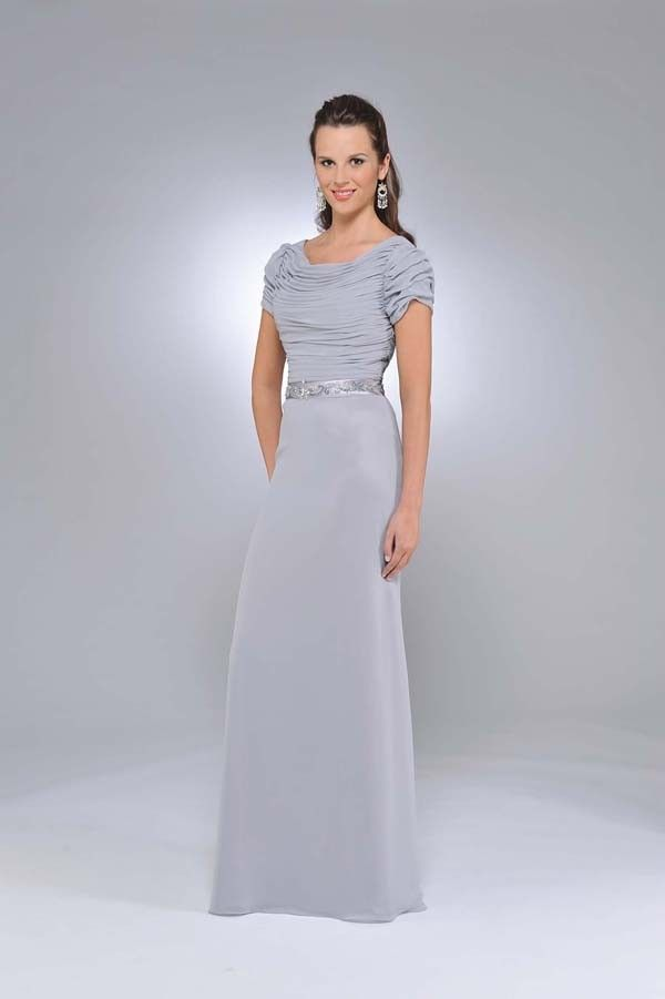 Grey Bridesmaid Dresses with Sleeves