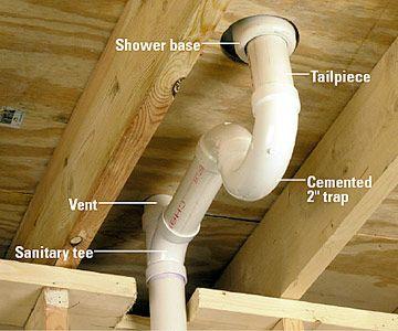 How To Run Drain And Vent Lines Bathroom Shower Plumbing Plumbing Installation Bathroom