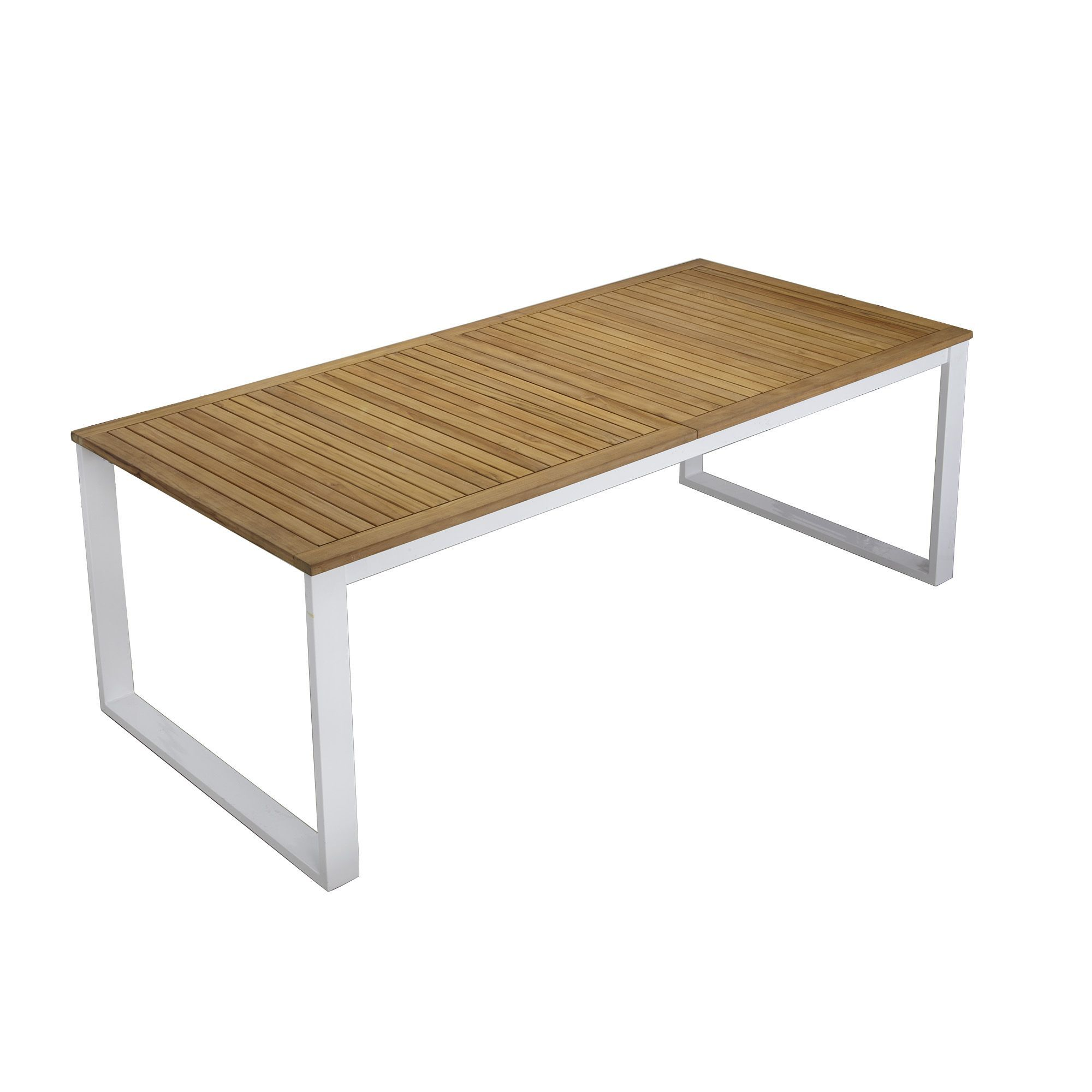 Table à allonge papillon en aluminium et teck Blanc bois - Colombe ...