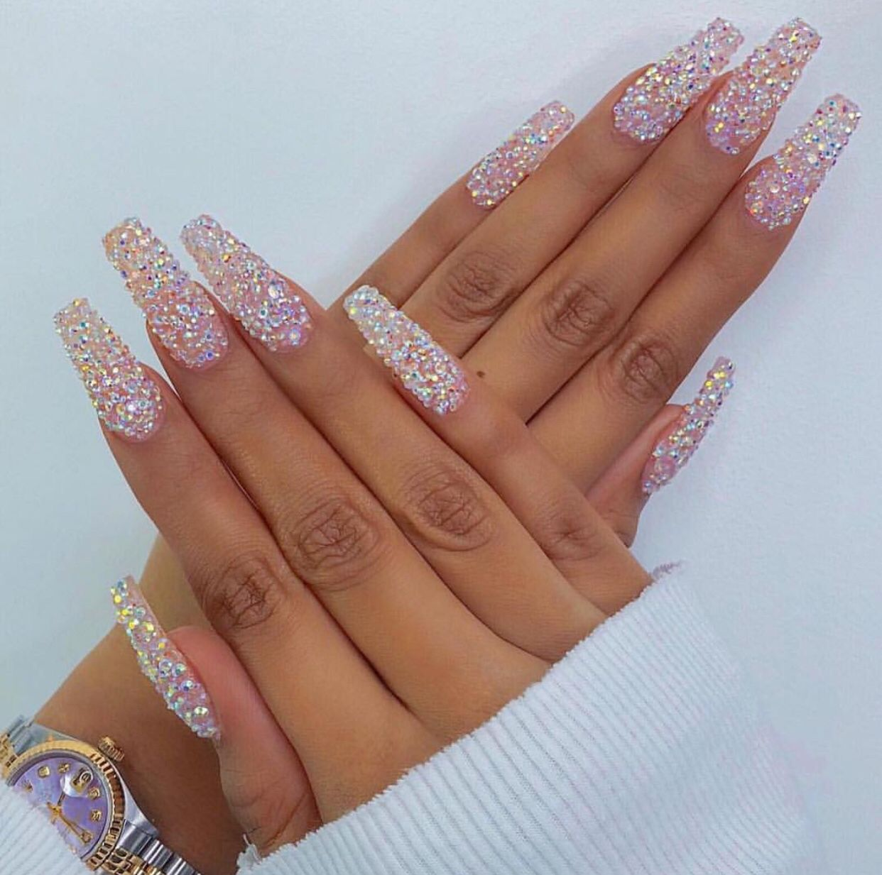 medium Coffin nails pixie crystal bling