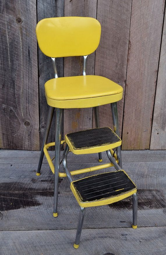 Yellow Ames Maid Step Stool Chair Vintage Kitchen Stool